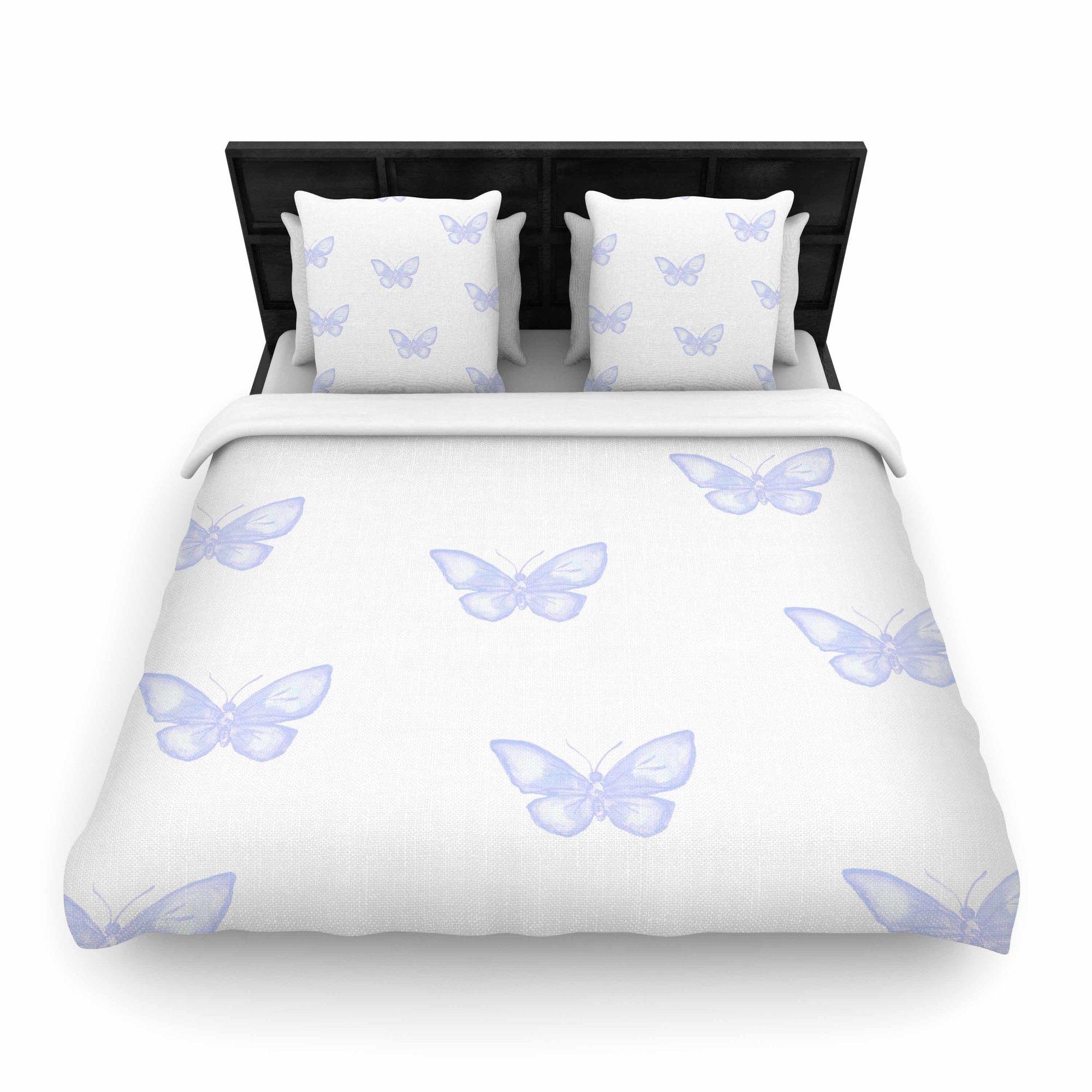 Many Lavender Butterflies Woven Duvet Cover