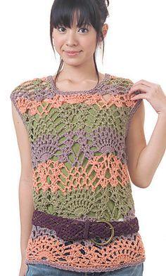 http://www.ravelry.com/patterns/library/26-17-pineapple-sweater free crochet pattern