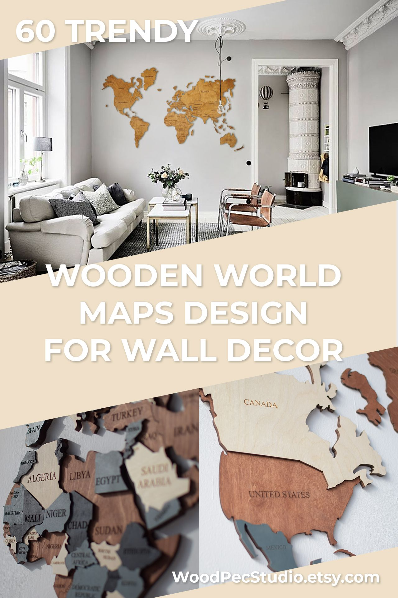 Travel Push Pin Map Wall Wooden Map Of The World Map Rustic Home