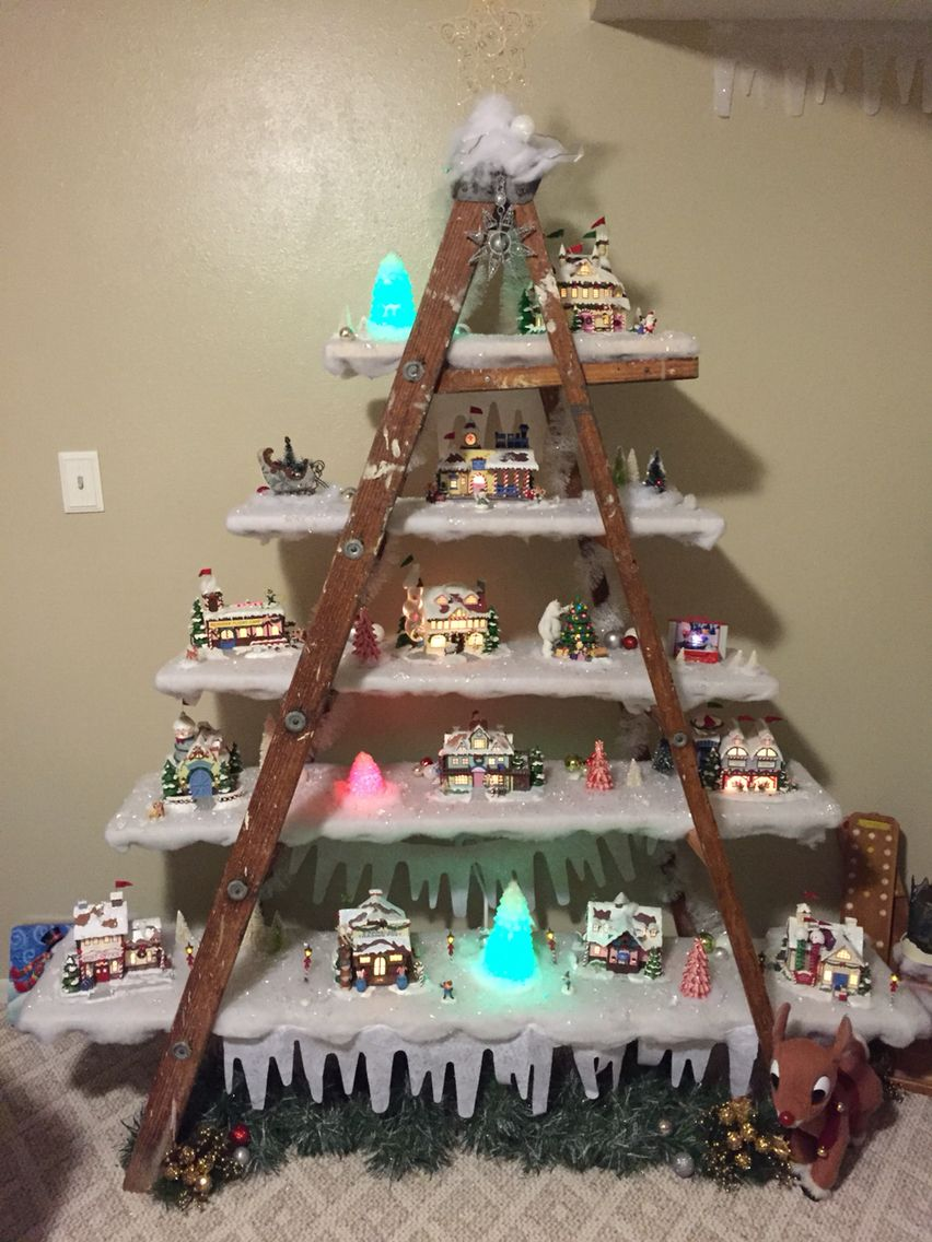 Rudolph village display with dads old wood ladder