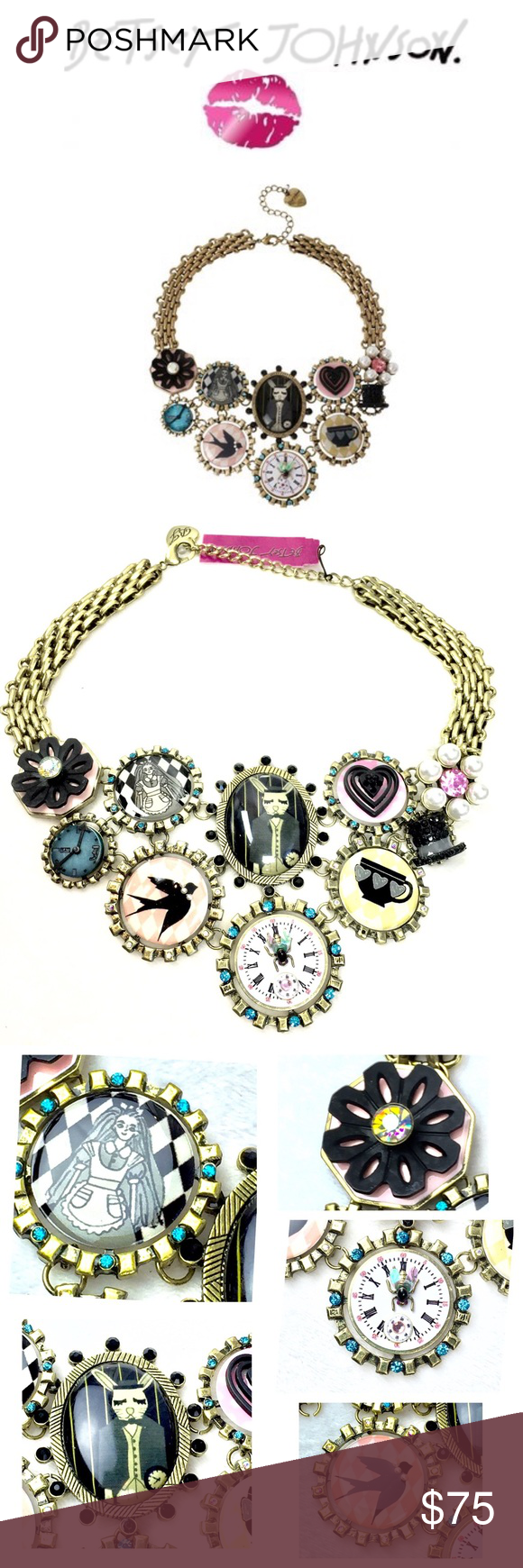 """Betsey Johnson Wonderland Drama Statement Necklace Statement frontal necklace with mixed multi-colored round and oval-shaped Wonderland-inspired charms help you shine from day to night. Set in a brass OX mixed metal. Gold tone necklace. Crystal accents. Lobster claw. Brass OX. Metal/plastic/glass. 1/8mm pearl. Plastic. 16"""" length + 3 """" extender; frontal drop 3.75"""" non-smoking home, pet free zone.  Brand new with tags.  Collectors item.  Bundle with earrings and bracelet for a complete…"""