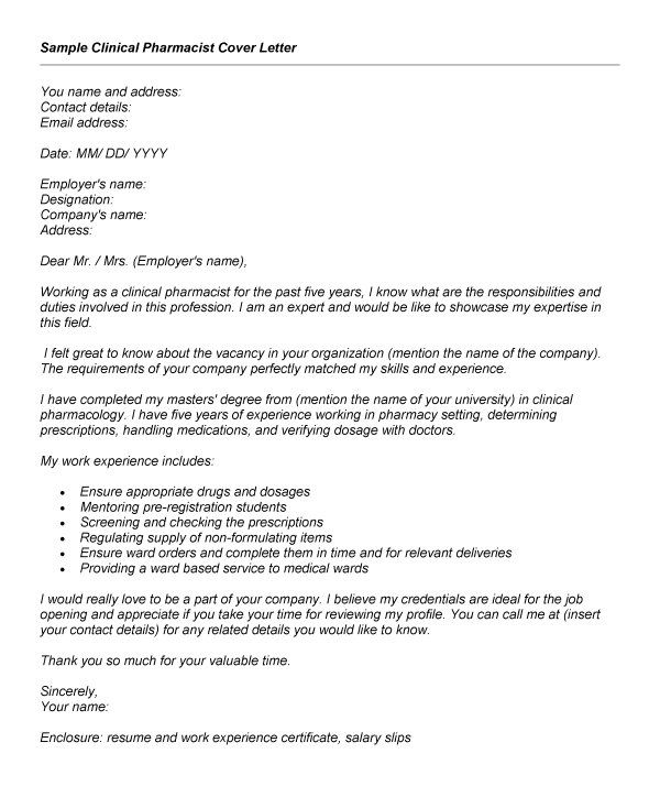Pharmacy Cover Letter Sample Clinical Guide Writing Example