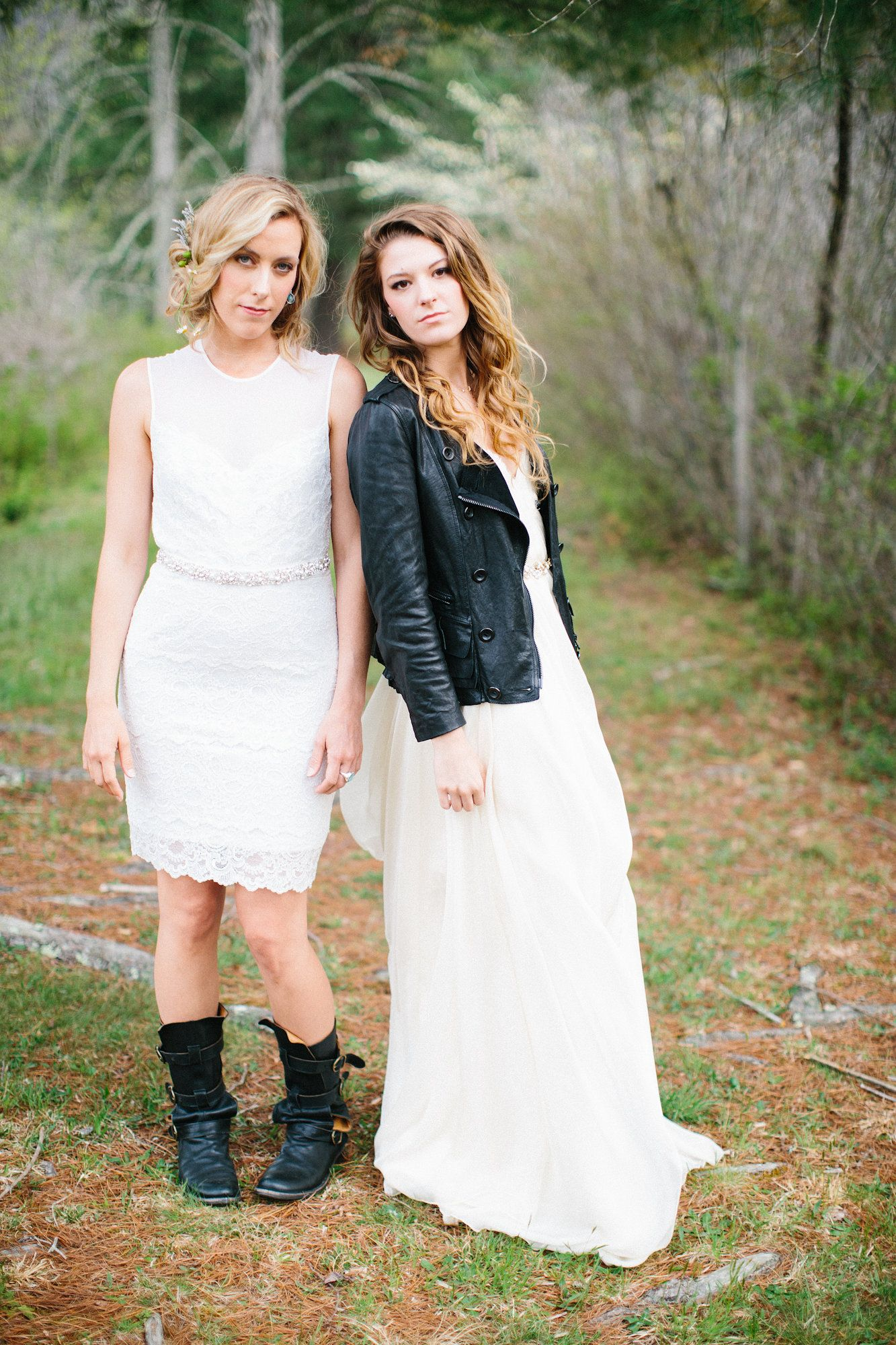 Boho bridal party rock and roll bridal party touches of leather
