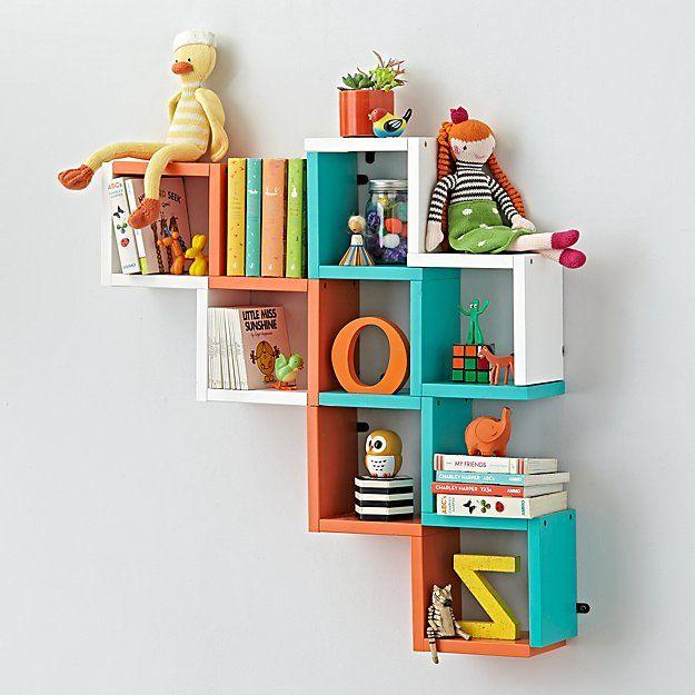 Origami Wall Shelf Aqua The Land Of Nod Kids Wall Shelves Kids Room Shelves Kids Bedroom Decor