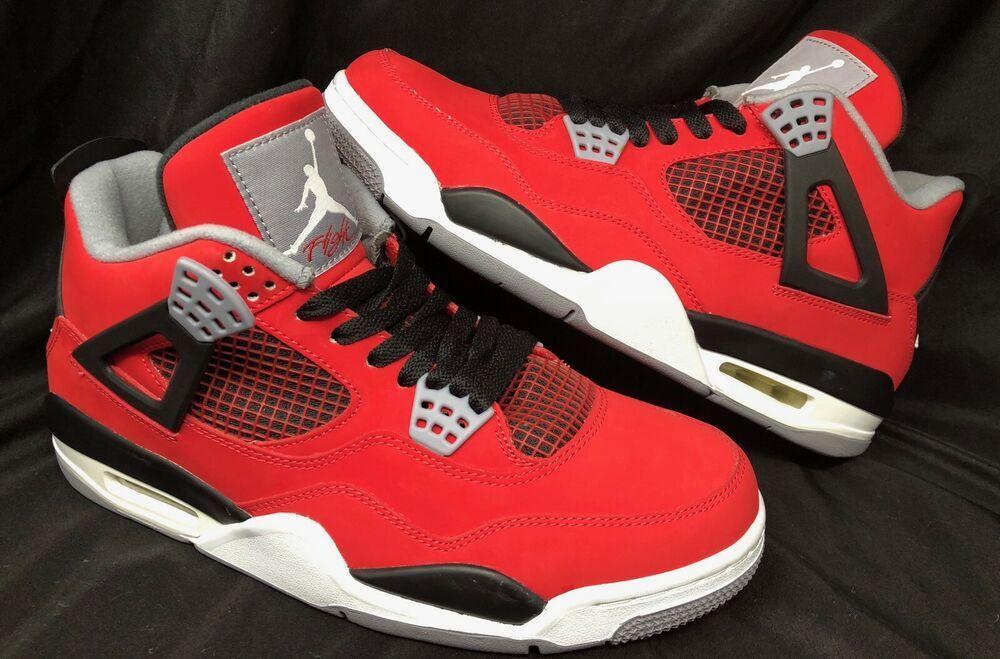 lowest price c9d70 767de Nike Air Jordan Retro 4 Toro Fire Red Mens Basketball Sneaker 308497-603 Sz.