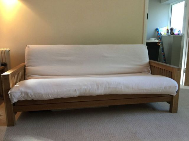 Fantastic 3 Seat Solid Oak Futon By Company Clean Deluxe Mattress Vgc Technical