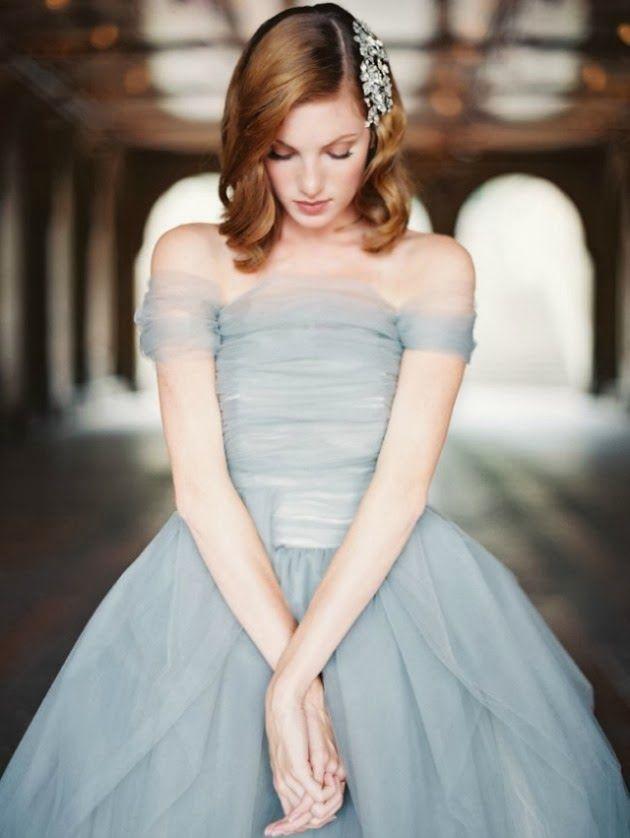 Ice blue wedding dress | via BRIDE CHIC