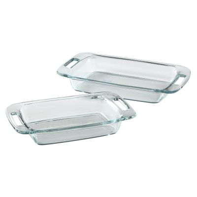 Pyrex Easy Grab 2 Pc Oblong Baking Dish Set Glass Bakeware Set
