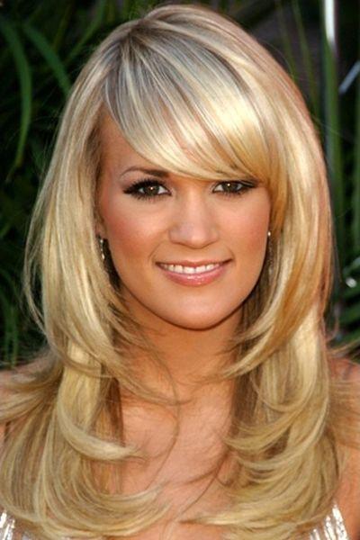 Carrie Underwood Long Straight Blonde Hair With Fringe Framed Face And Bangs Broen Eyes Brown Eyeb With Images Layered Hair With Bangs Long Hair Styles Medium Hair Styles