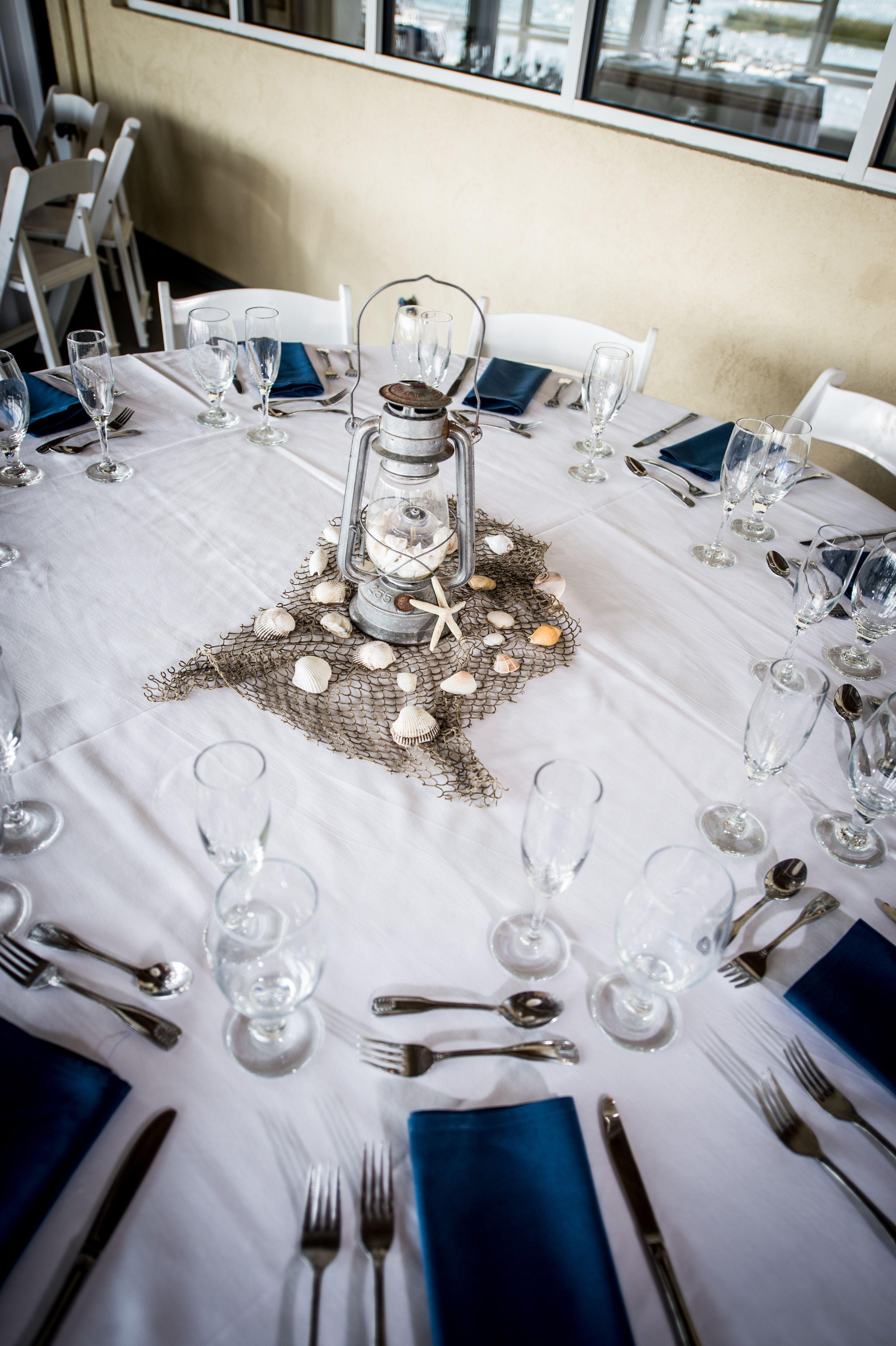 Rustic Lantern Centerpiece Seashells Beach Wedding Lesner Inn