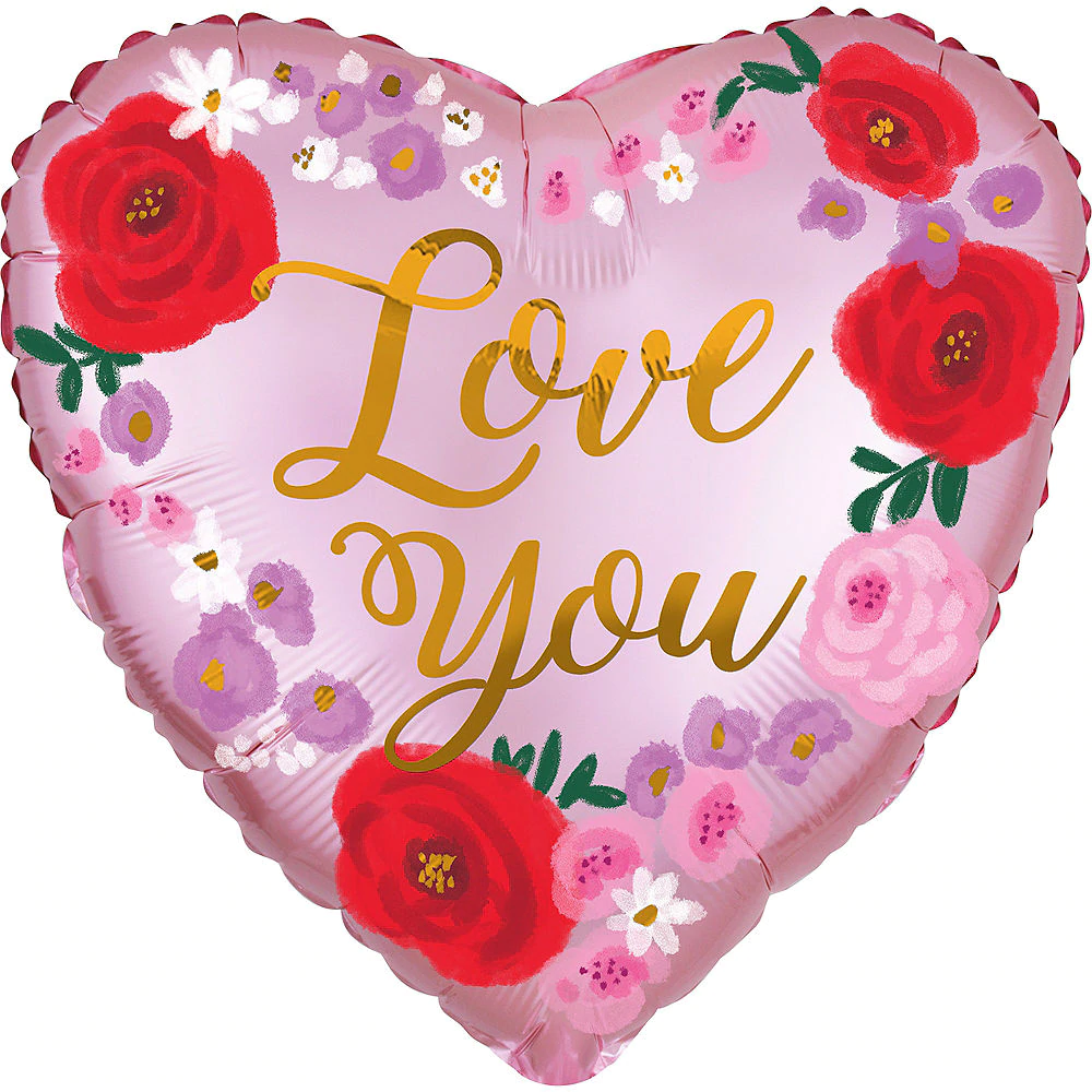 Floral Love You Heart Balloon 18in Party City Canada in