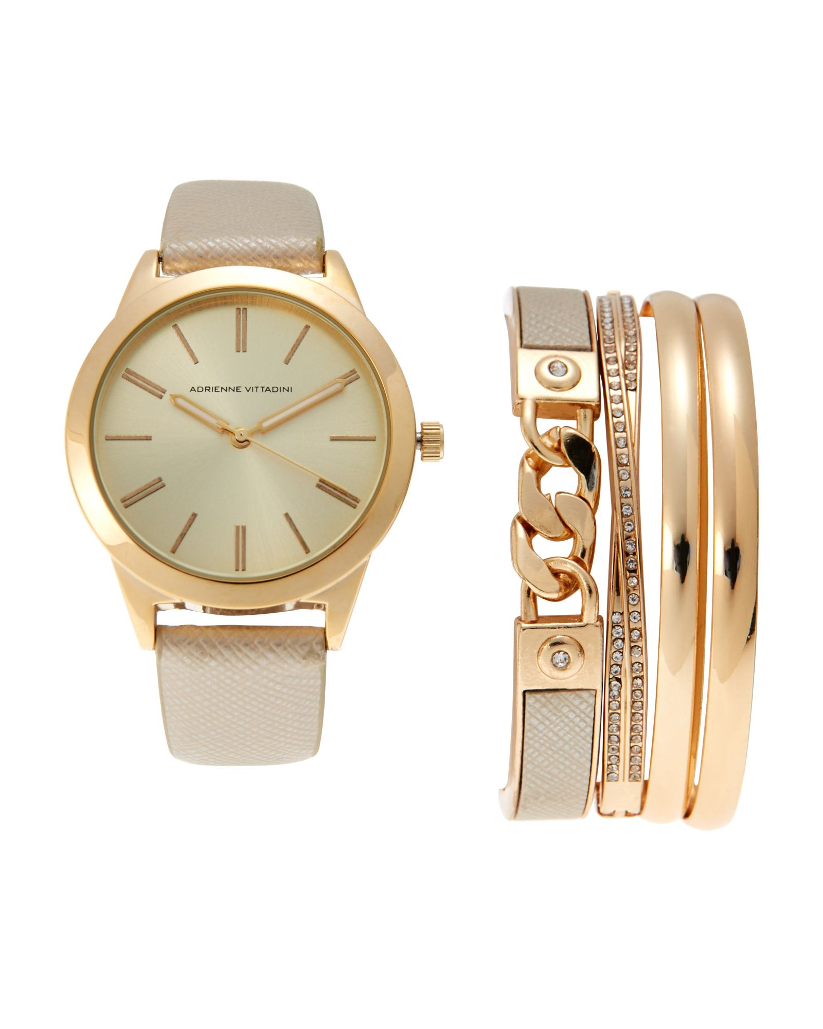 d5cbe78d21a4be Adrienne Vittadini ADST1751 Gold-Tone Watch   Bracelet Set