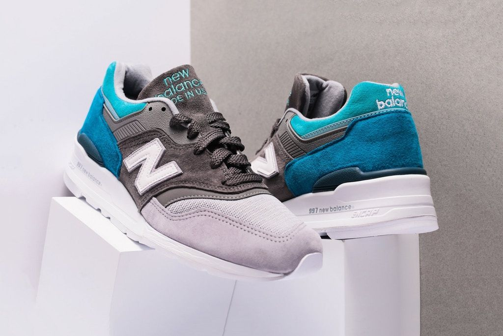 "New Balance 997 ""Grey/Aqua"" Look, Sapatilhas"