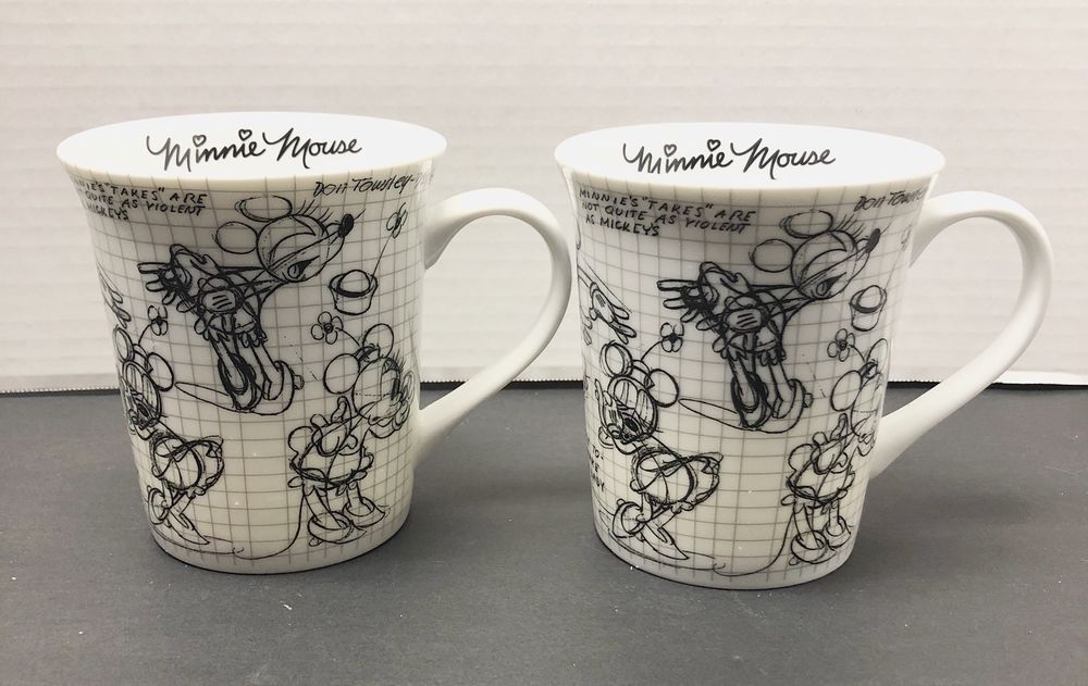 2008 Sketch Book Mickey Walt Disney Coffee Mug Minnie Mouse Set Of 2 New #Disney #disneycoffeemugs