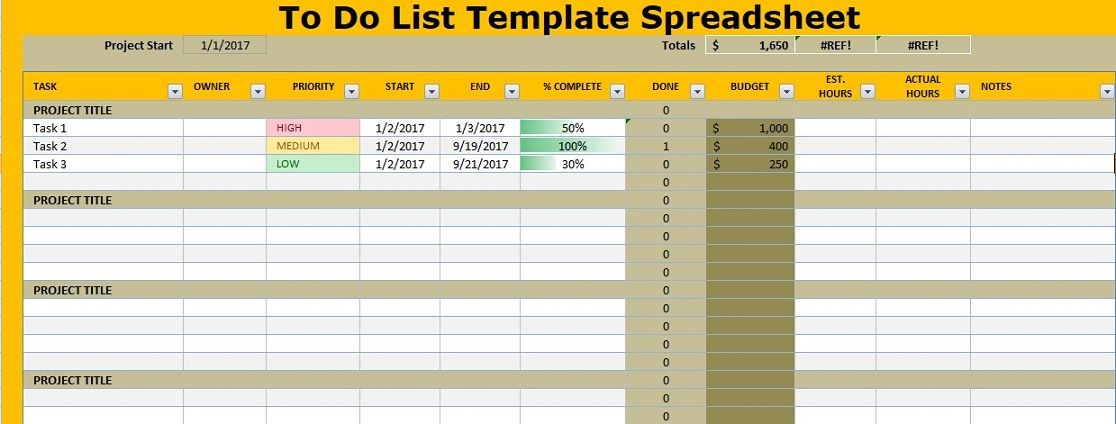 To Do List Template Spreadsheet Excel Projectemplates Project