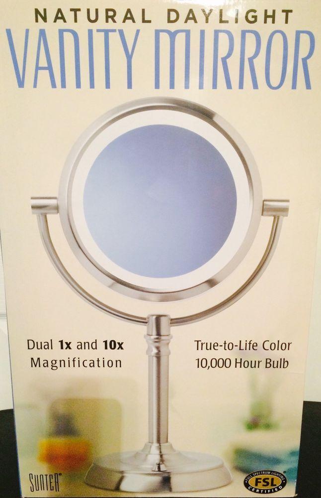 Sunter Natural Daylight Vanity Makeup Mirror Dual Lighted 1x 10x Magnification Sunter Mirror Makeup Color Of Life