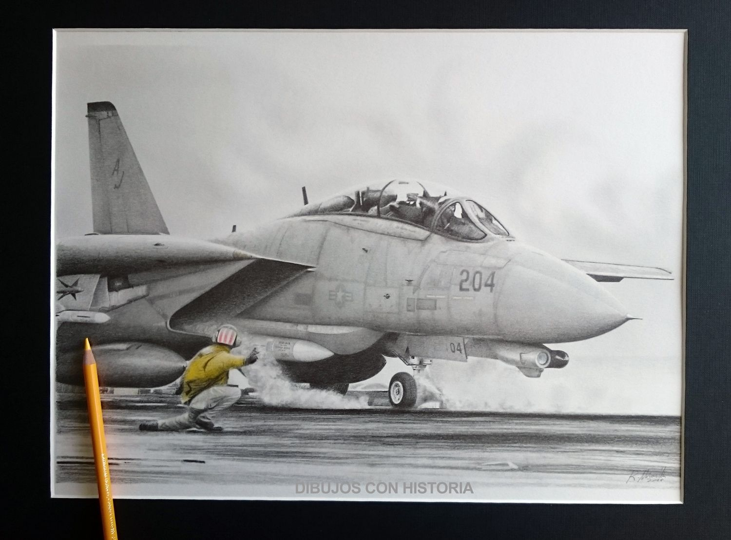 F 14 tomcat pencil drawing