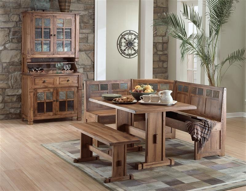 Arizona Rustic Oak Corner Breakfast Nook Hutch And Buffet Set Dining Table
