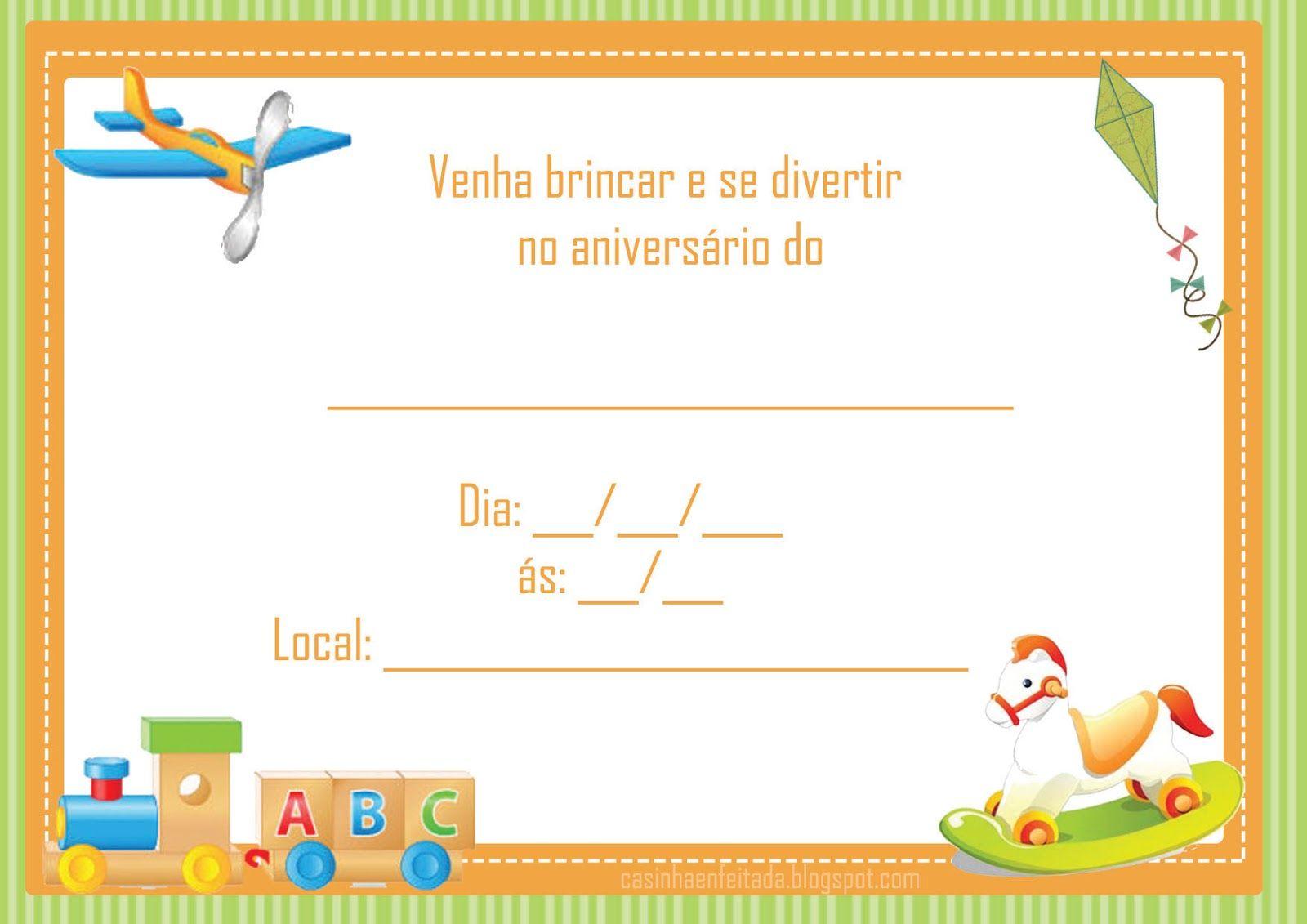 Kit Festa Tema Brinquedos Para Imprimir Gratis Convite