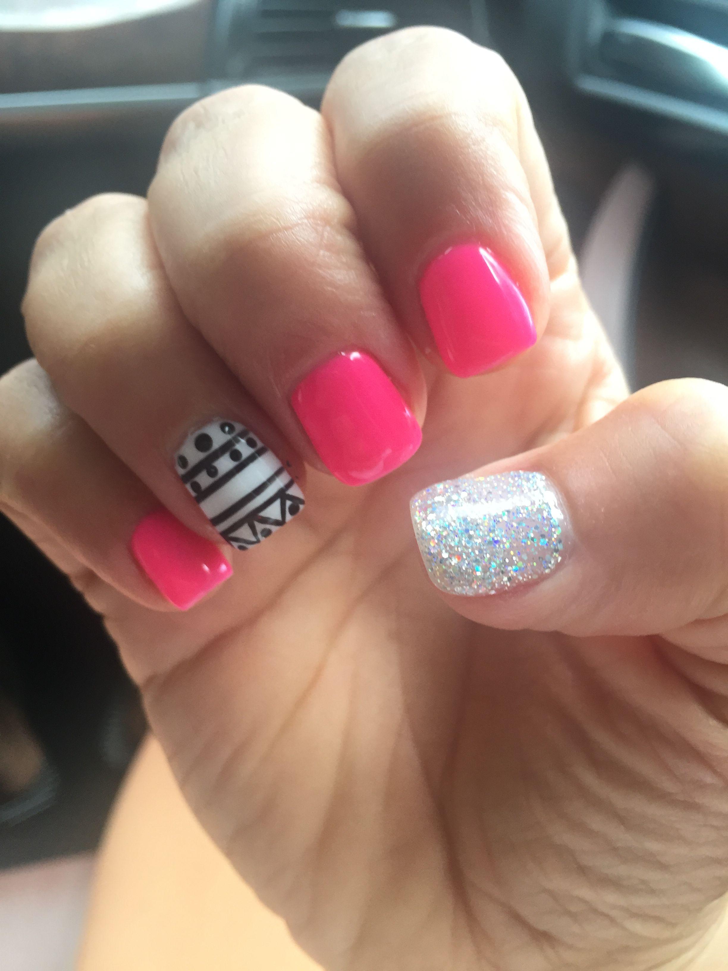 Summer Aztec Nail Design Hot Pink Nails Gel Shellac Mani Glitter