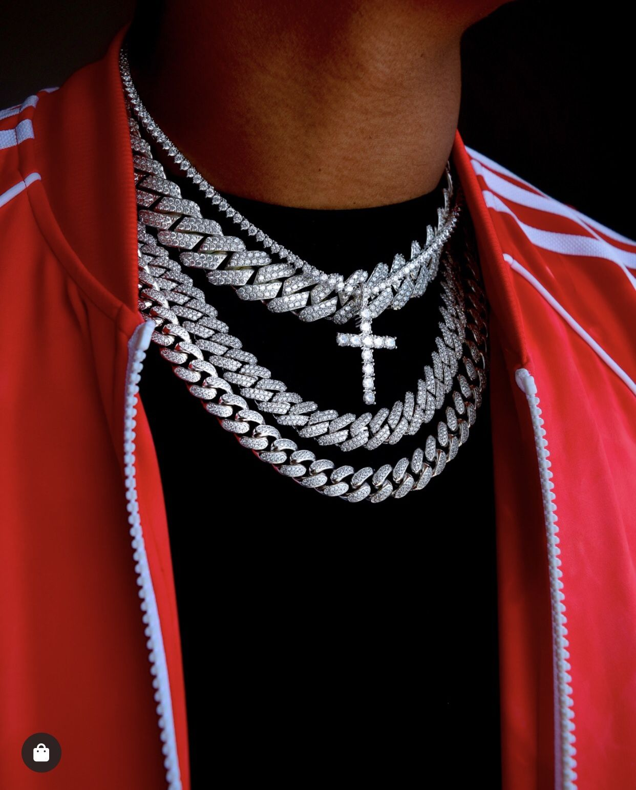 Diamond Prong Set Cuban And Iced Cross Tennis Chain Bundle Cuban Link Chain Men Diamond Chain Necklace Fashion
