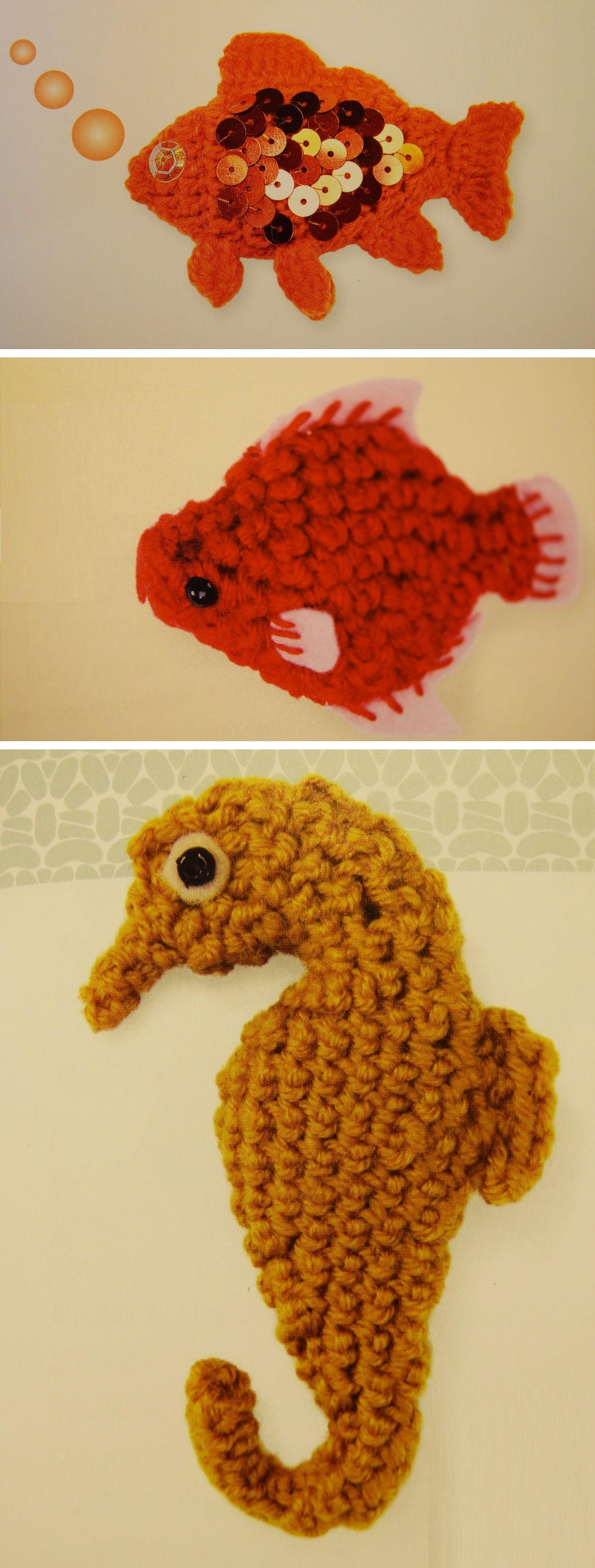 Goldfish, Parrotfish, Seahorse – 3 Crochet Patterns