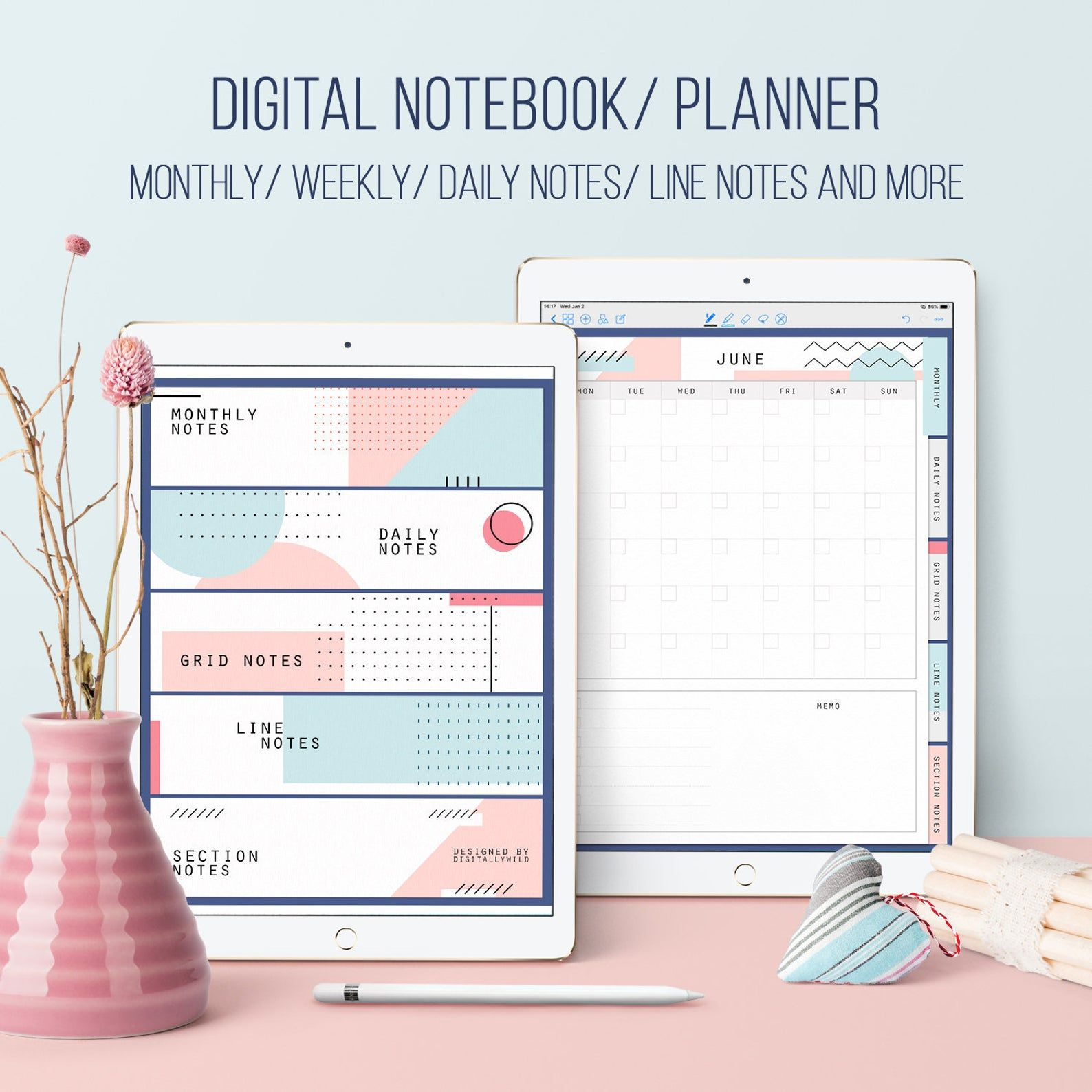 Digital planner Notebook Grid Lined notebook Undated Monthly Weekly & Daily planner Student Teacher planner Minimalist planner Goodnotes
