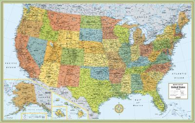 Rand Mcnally M Series Full Color United States Wall Map Travel - Staples-us-map