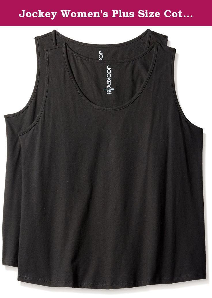 1120a3e9040 Jockey Women's Plus Size Cotton 2 Pack Tank, Black, 2X. D…   Tops ...