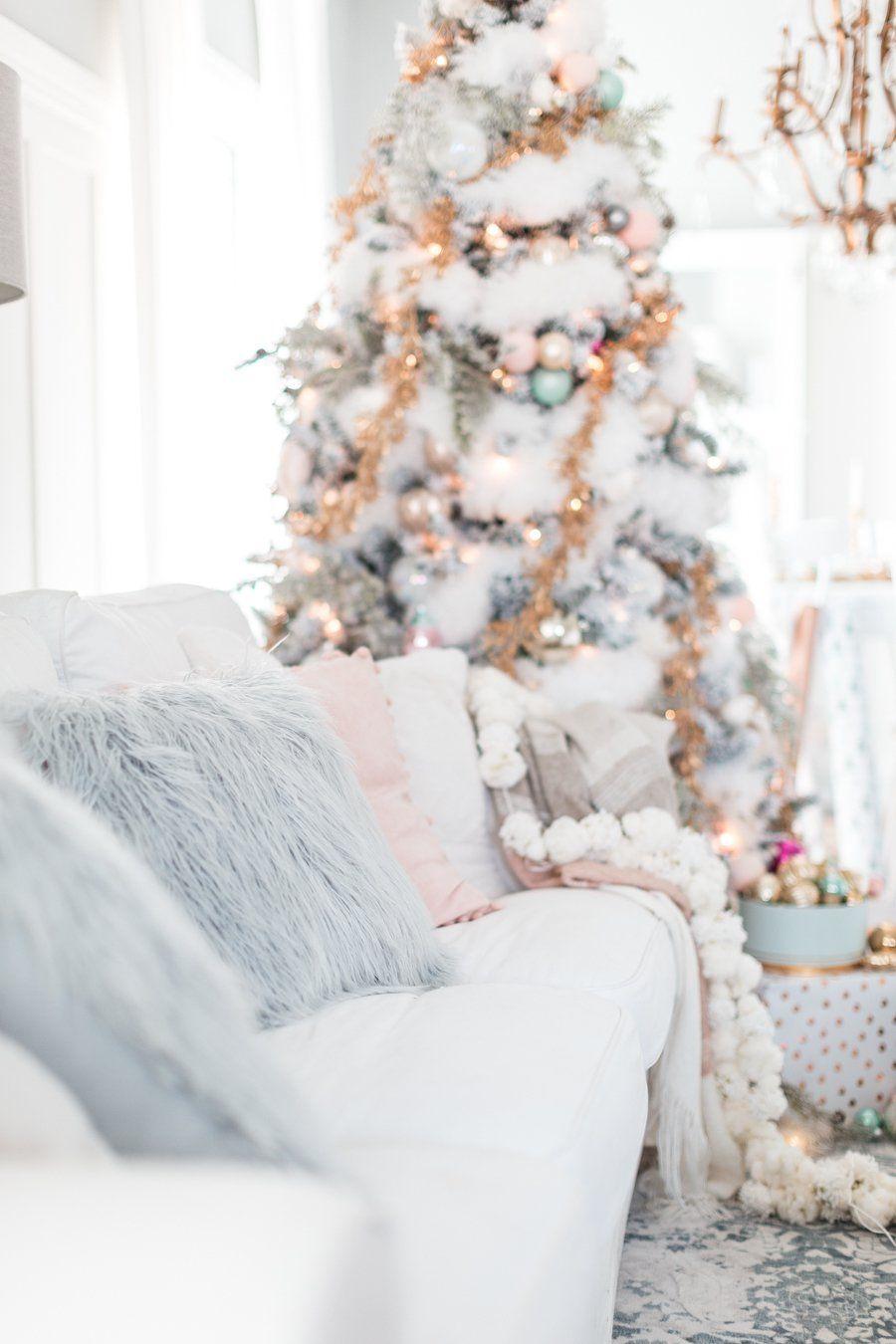wohnen in weiß, feiern in weiß: pastellfarbene deko weihnachten