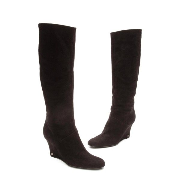 6dc0a897ce3 Pre-Owned Gucci Black Suede Knee High Wedge Boots ( 350) ❤ liked on ...