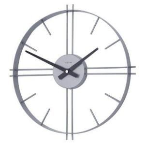 17 In. Metal Silver Hoop Clock with Contemporary Lines ($60)