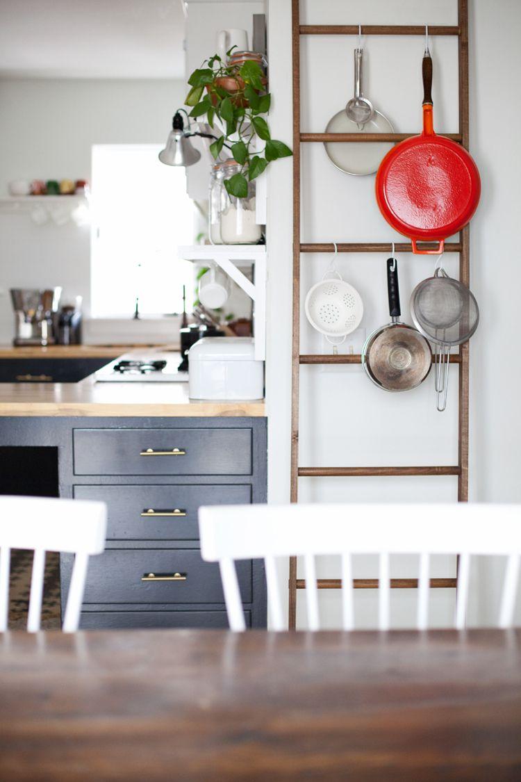Pfannen Aufhängen Küche Leiter Zum Anlehnen S Haken Wohnideen