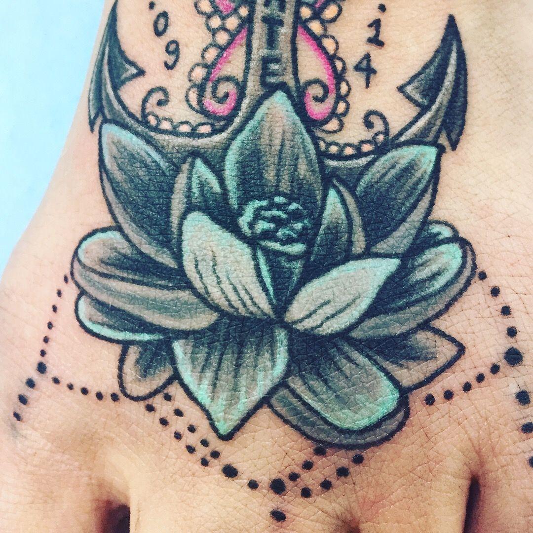 Tattoo Foot Tatouage Pied Fleur Lotus Mandalas Bijoux Couleur Ancre