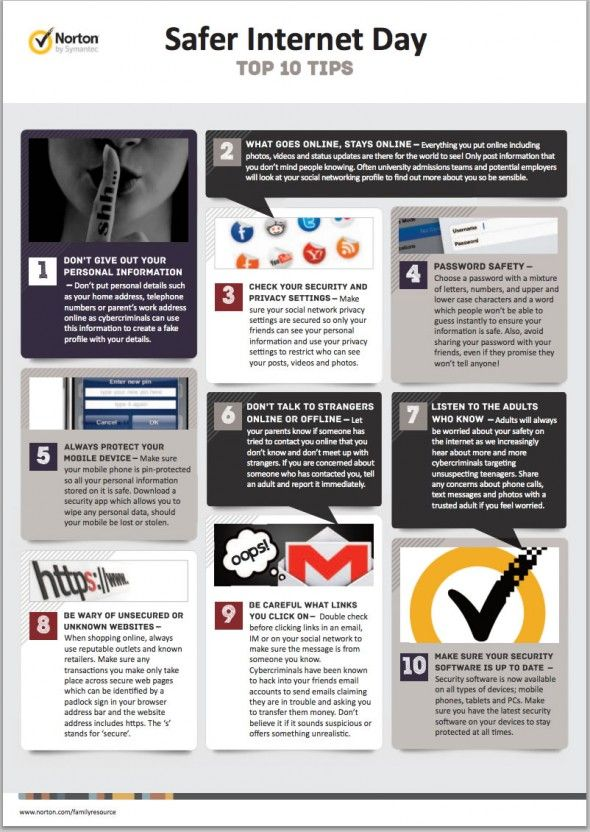 Infographic Safer Internet Day Norton S Top 10 Tips Safe Internet Internet Safety Online Marketing Blog