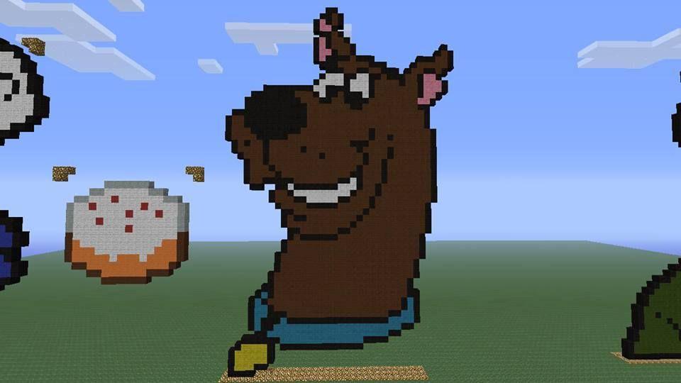scooby+doo+pixel+art | Minecraft Pixel Art 25: Scooby Doo by ...
