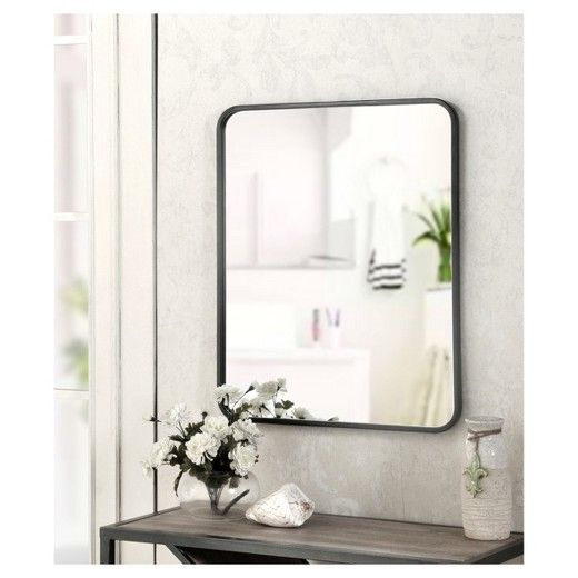 20 X 24 Mirror Satin Black Metal Frame Finish Vertical And Horizontial Hanging Capabilities Hardware Included