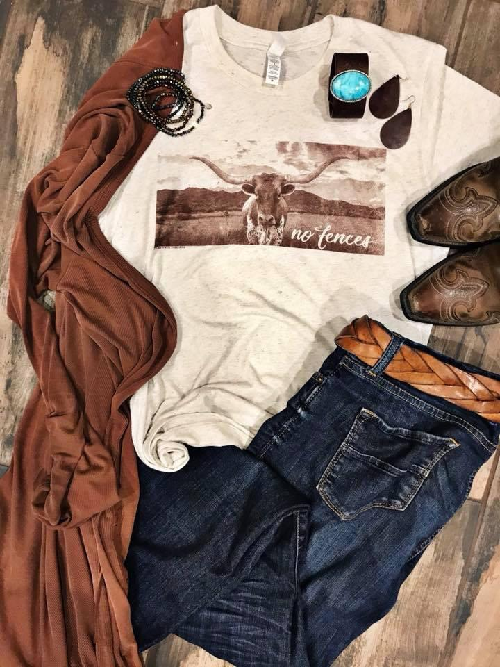 Longhorn No Fences Tee from Divine Couture Boutique Graphic Tees