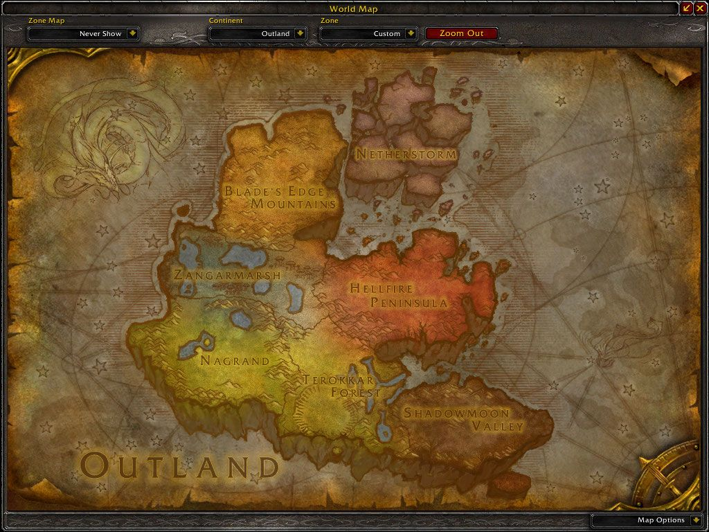 Map Of The Outlands A Ruined Mass Of Land Floating In The Universe Somewhere Map Warcraft Art Azeroth Map
