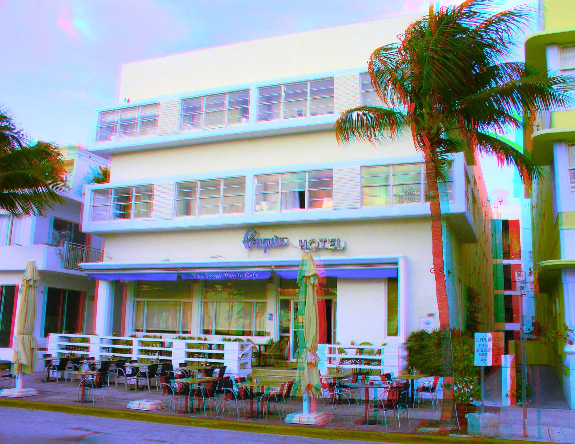 1418 Ocean Drive The Penguin Hotel Built 1948 Henry Hohauser Style Mid Century Modern Google Anaglyph Gles To View In