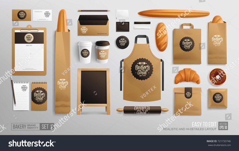Branding Identity Mockup Set For Bakery Shop Cafe Corporate Style Bakery Food Package Mockup Realistic Mo Branding Identity Mockup Bakery Mockup Bakery Shop