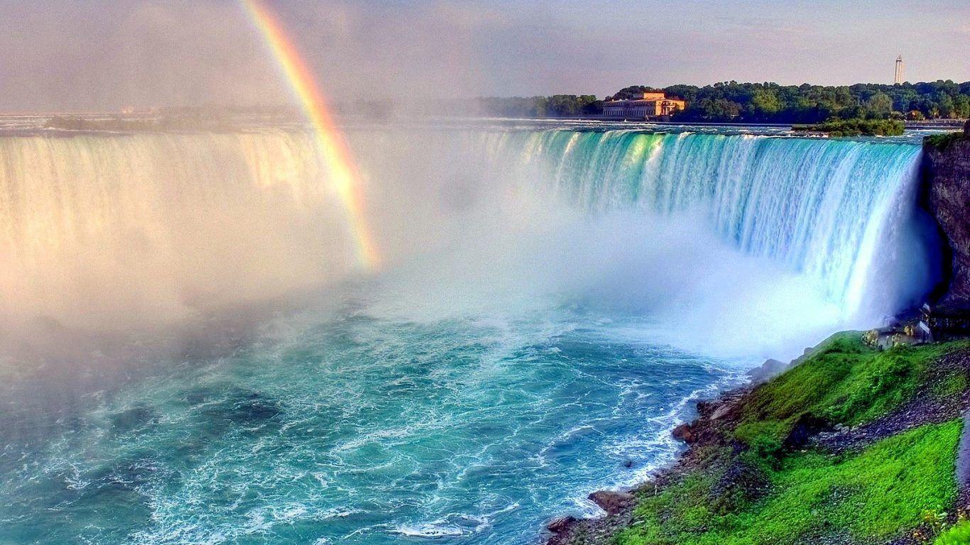 Rainbow Water Rainbows Niagara Waterfall Waterfalls Blue Falls Landscapes Desktop Wallpapers Free Download Niagara Waterfall Rainbow Water Rainbow Waterfall