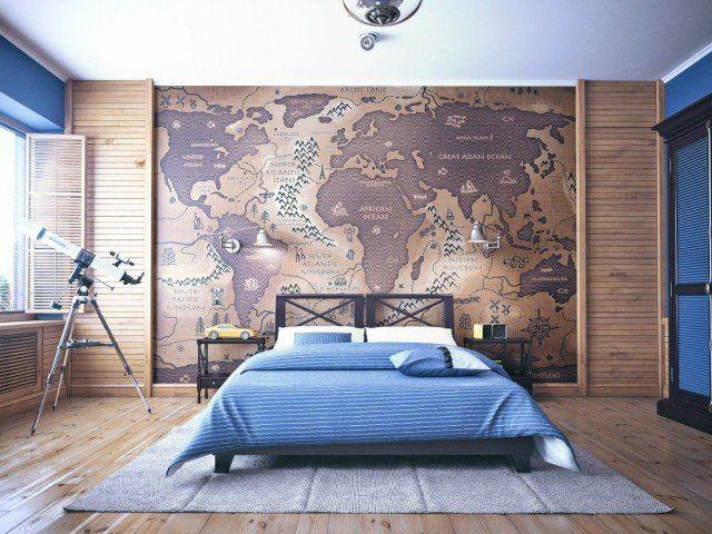dco chambre ado couleurs murs bleu papier peint carte gographique revtement sol bois