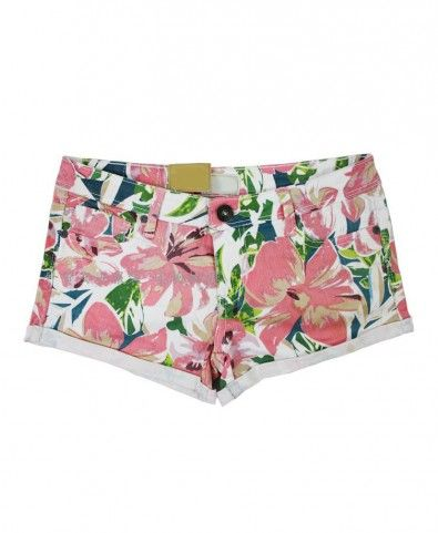 Floral Cluster Denim Shorts