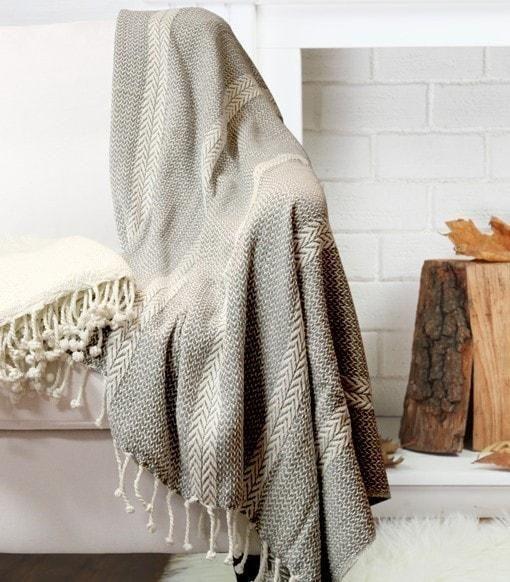 2 Pack 100% Cotton Throw Blanket Anchor Shores Gray2 Pack Cotton Throw Blankets- R.W. Summer Imports