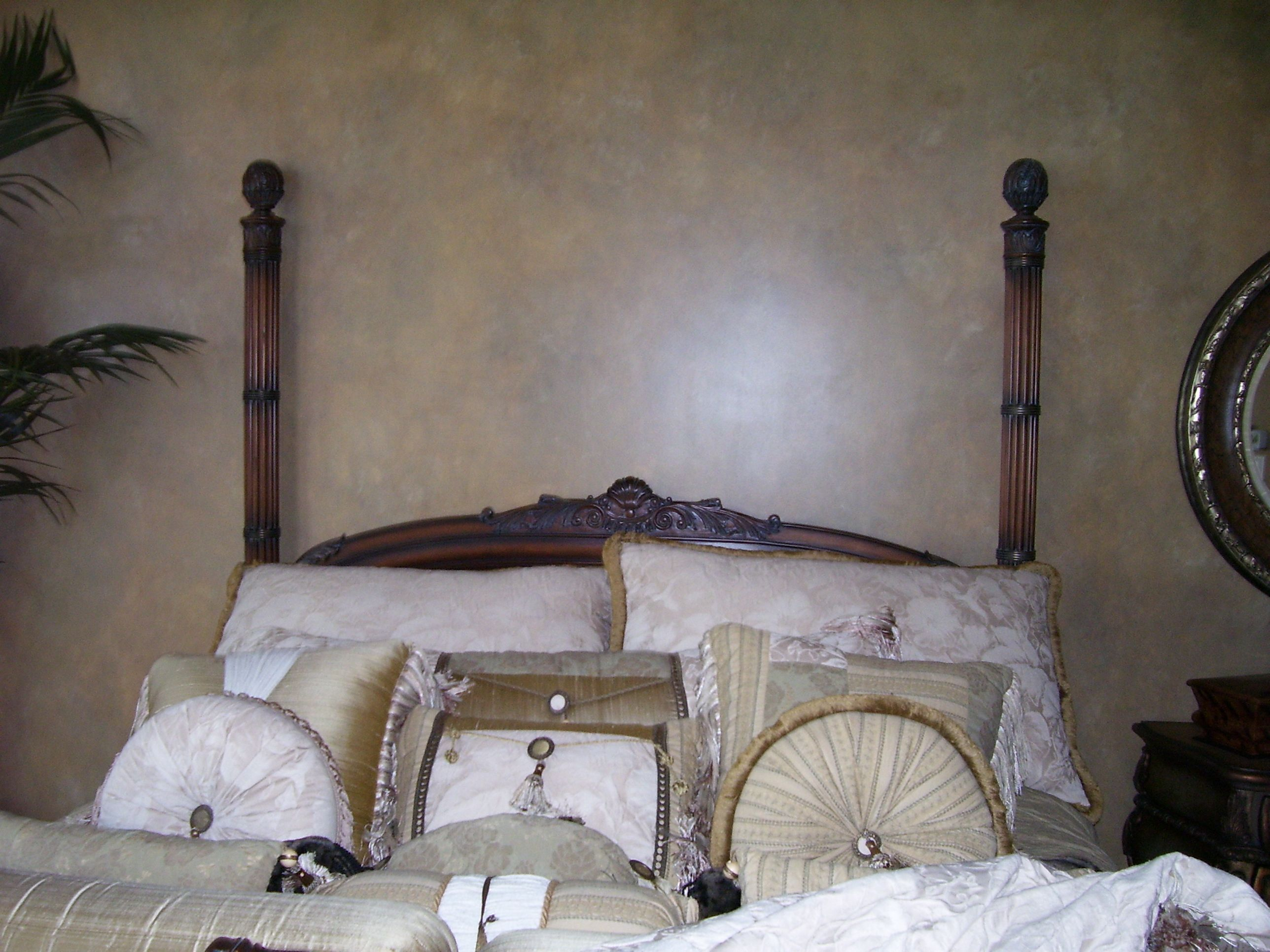 Faux finish on a bedroom wall. Bedroom wall, Home decor