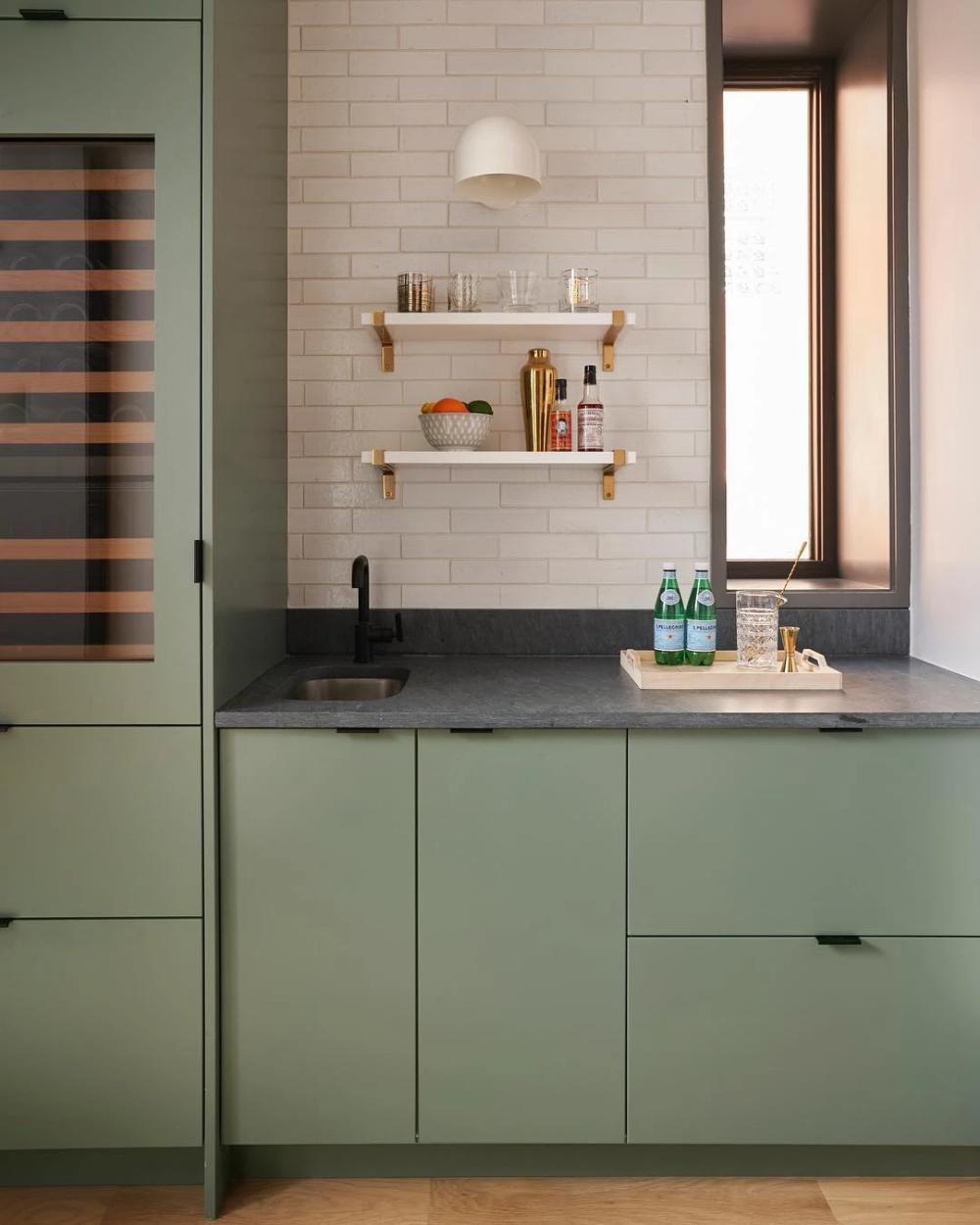 Contemporary Chicago Kitchen For The Modern Family In 2020 Ikea Kitchen Design Kitchen Interior Green Kitchen Cabinets