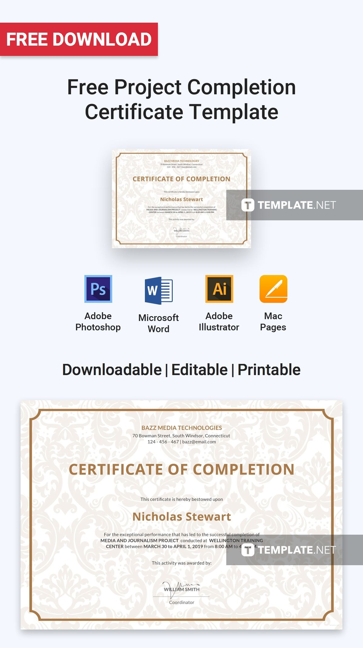 Free Project Completion Certificate Certificate Templates