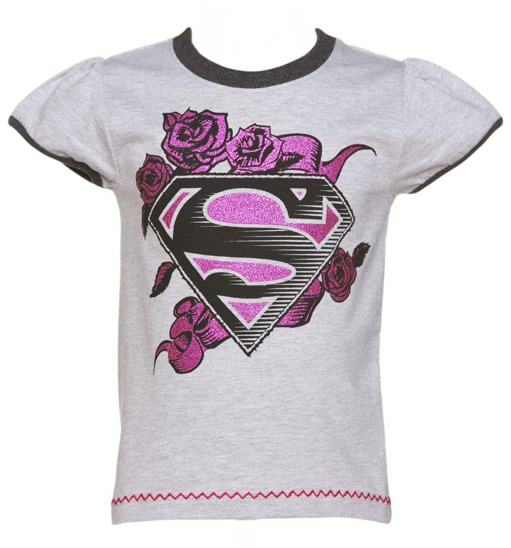 ee53a1bc Kids Grey Marl DC Comics Supergirl Glitter Rose Logo Cap Sleeve T-Shirt