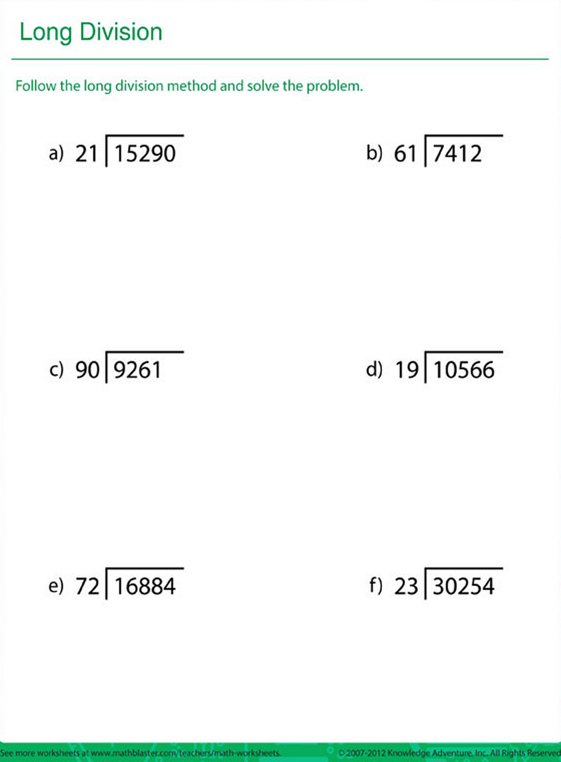 Printable Math Practice Sheet On The Area Of Long Division